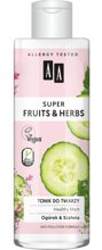 AA Super Fruits&Herbs tonik do twarzy ogórek/szałwia 200ml