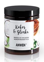 Anwen Maska do włosów niskoporowatych Kokos i Glinka 180ml