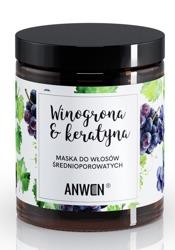 Anwen Maska do włosów średnioporowatych winogrona i keratyna 180ml