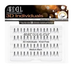 Ardell 3D Individuals Knot Free Medium Black - Kępki średnich rzęs bez węzełków czarne 56 sztuk