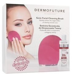 DermoFuture Zestaw Szczoteczka Soniczna do oczyszczania twarzy Różowa + Żel micelarny 3w1