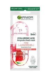 Garnier Hyaluronic Acids Ampoule Sheet Mask Ampułka ujędrniająca w masce na tkaninie z kwasem hialuronowym i ekstraktem z arbuza 15g