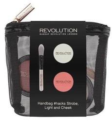 Makeup Revolution Handbag Strobe Light&Cheek - Zestaw różu, rozświetlacza i pędzelka do aplikacji