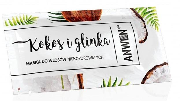 Anwen Maska do włosów niskoporowatych Kokos i glinka SASZETKA 10ml