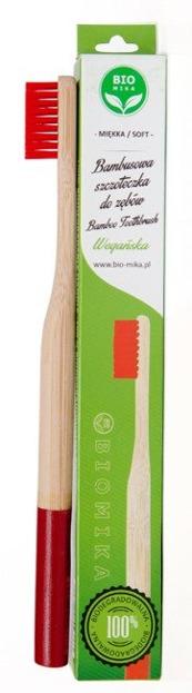 BIOMIKA Bambusowa szczoteczka do zębów CZERWONA