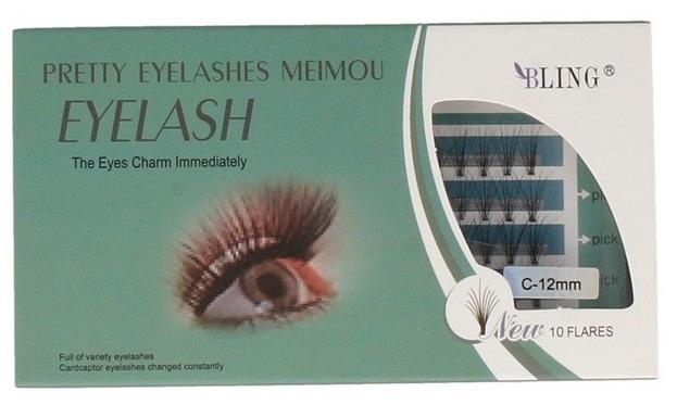 Bling Pretty Eyelashes XEB-008 Sztuczne kępki rzęs C-12mm