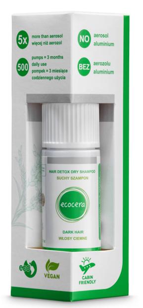 Ecocera HAIR DETOX Suchy szampon do włosów ciemnych 15g