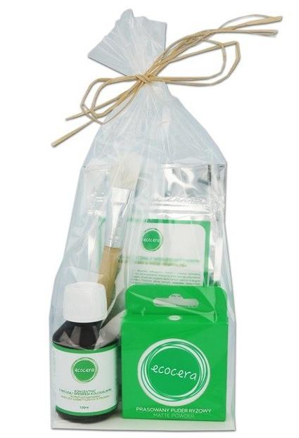 Ecocera Zestaw prezentowy 1 Maseczka przeciwtrądzikowa + Koncentrat z miedzią i srebrem + Pędzel do aplikacji + Prasowany puder ryżowy