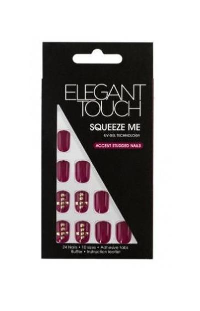 Elegant Touch Accent Studded Nails - Sztuczne paznokcie zdobione z taśmą samoprzylepną Squeeze Me, 24 sztuki