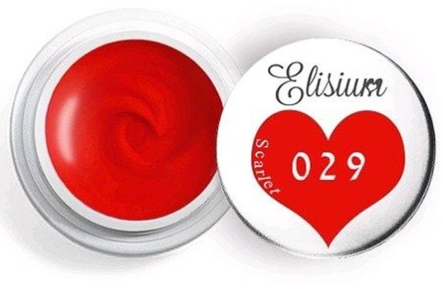 Elisium UV Gel Elisium UV Gel 029 Scarlet 5ml Farba żelowa do zdobień