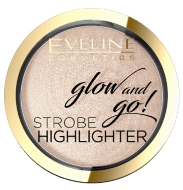 Eveline Cosmetics Glow And Go!  Wypiekany rozświetlacz 01 Champagne 8,5g