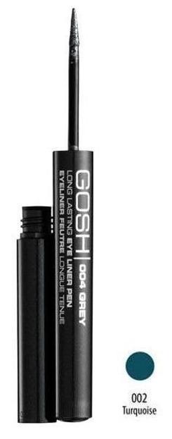 GOSH, Long Lasting Eye Liner Pen, Długotrwały eye liner w płynie, 002 Turquoise