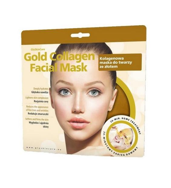 GlySkinCare Gold Collagen Facial Mask - Kolagenowa maska do twarzy ze złotem, 1 sztuka