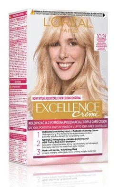 LOREAL EXCELLENCE CREME Farba do włosów 10.21 Bardzo jasny perłowy blond
