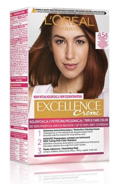 LOREAL EXCELLENCE CREME Farba do włosów 4.54 Brąz mahoniowo-miedziany