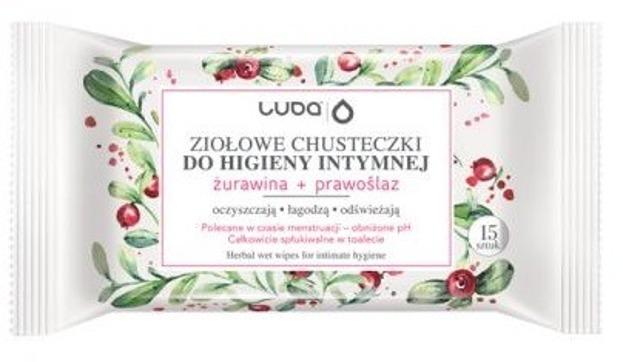 LUBA Ziołowe chusteczki do higieny intymnej Żurawina + Prawoślaz 15szt.