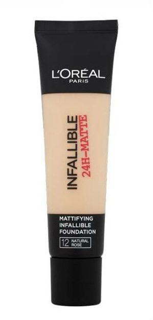 Loreal Infallible 24-Matte Mattifying Foundation - Długotrwały podkład matujący do twarzy 12 Natural Rose 35 ml