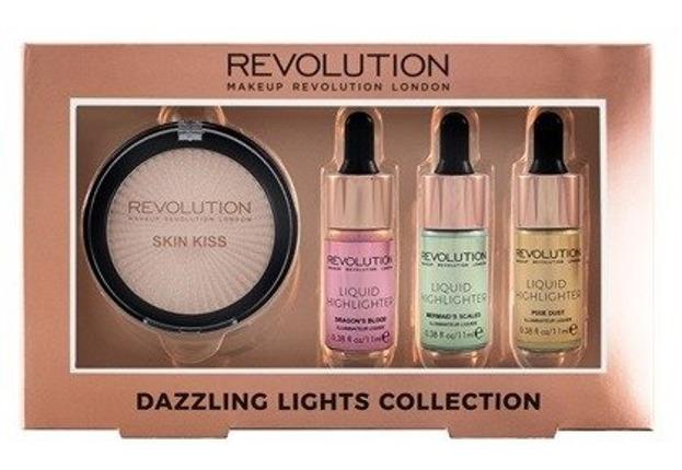 Makeup Revolution Dazzling Lights Collection Zestaw rozświetlaczy do twarzy