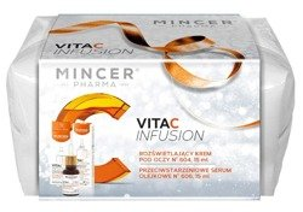 Mincer Pharma Zestaw Infusion Rozświetlający krem pod oczy 604 + Olejowe serum przeciwstarzeniowe 606
