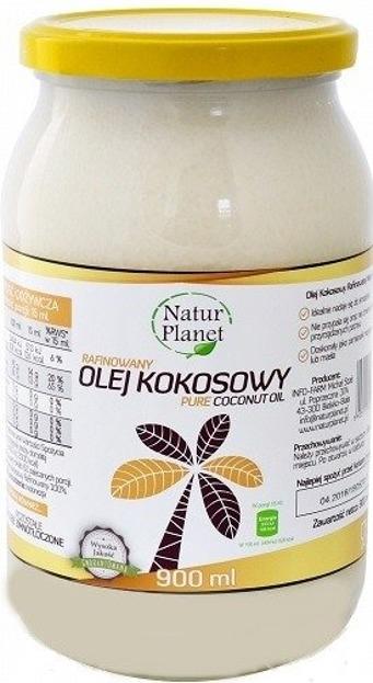 Natur Planet Olej kokosowy 100% naturalny rafinowany 900ml