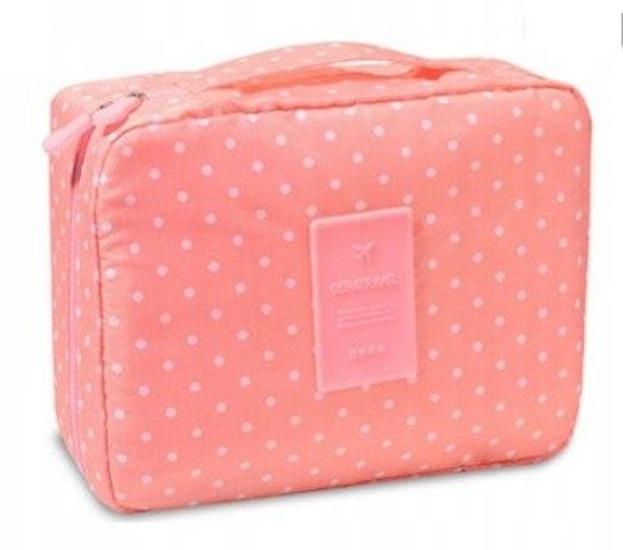 TRAVEL Kosmetyczka podróżna Kuferek Różowy w kropki 3168
