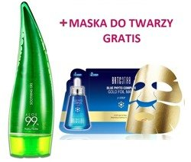 Zestaw Holika Holika Aloe 99% Soothing Gel Żel aloesowy 250ml + BRTC Blue Phyto Complex Gold Foil Mask Ekskluzywna dwuetapowa złota maska do twarzy